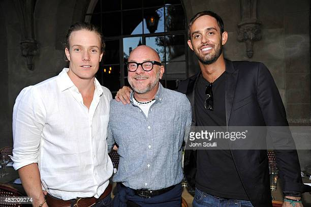 Interior designer Ross Cassidy Floral and Fragrance Designer Eric Buterbaugh and CAA agent Cade Hudson attend AG Jeans and Vanity Fair Dinner Party...
