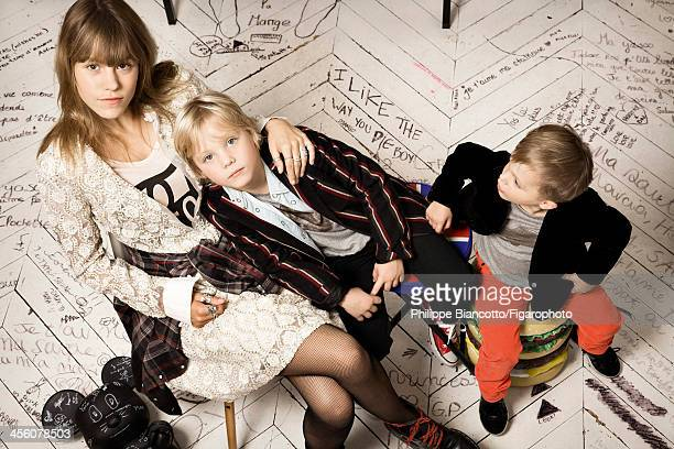 Interior designer Sarah Lavoine's children are photographed for Madame Figaro on October 11, 2013 in Paris, France. Yasmine: Dress , t-shirt , shirt...