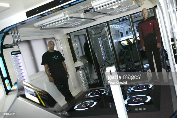 Interior designer Tony Alleyne stands in his Star Trek theme studio apartment May 16 2003 in Hinckley Leicestershire England The apartment took...