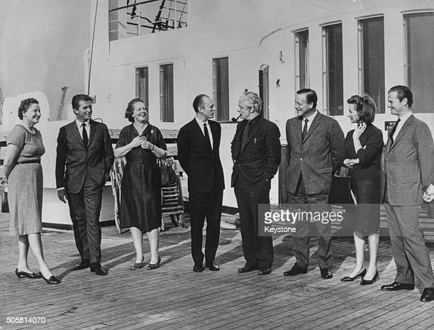 Interior designers Evelyn Pinching Jon Bannenberg Jean Monro Michael Inchbald James Gardner Dennis Lennon and David Hicks pictured on the deck of the...