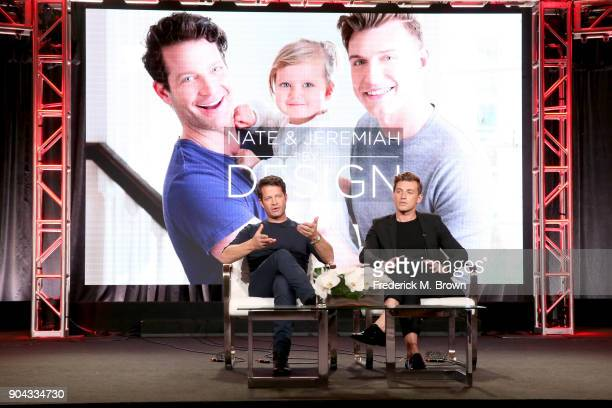 Interior designers Nate Berkus and Jeremiah Brent of 'Nate Jeremiah By Design' speak onstage during the Discovery Communications portion of the 2018...