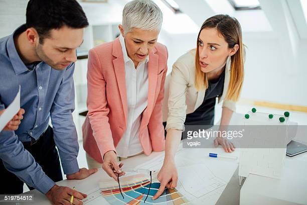 Interior Designers Team choosing color in their office.