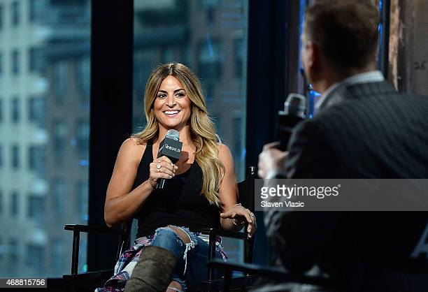 Interior designer/TV personality Alison Victoria talks to TV personality and moderator Brian Balthazar during 'AOL BUILD Speaker Series Alison...