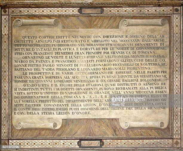 Interior detail from the Palazzo Vecchio Florence Italy A massive Romanesque fortresspalace designed by the architect Arnolfo di Cambio Internally...
