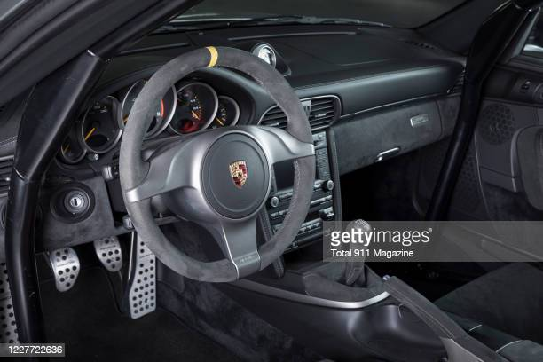 Interior detail of a Porsche 997 GT2 RS sports car, taken on March 11, 2019.