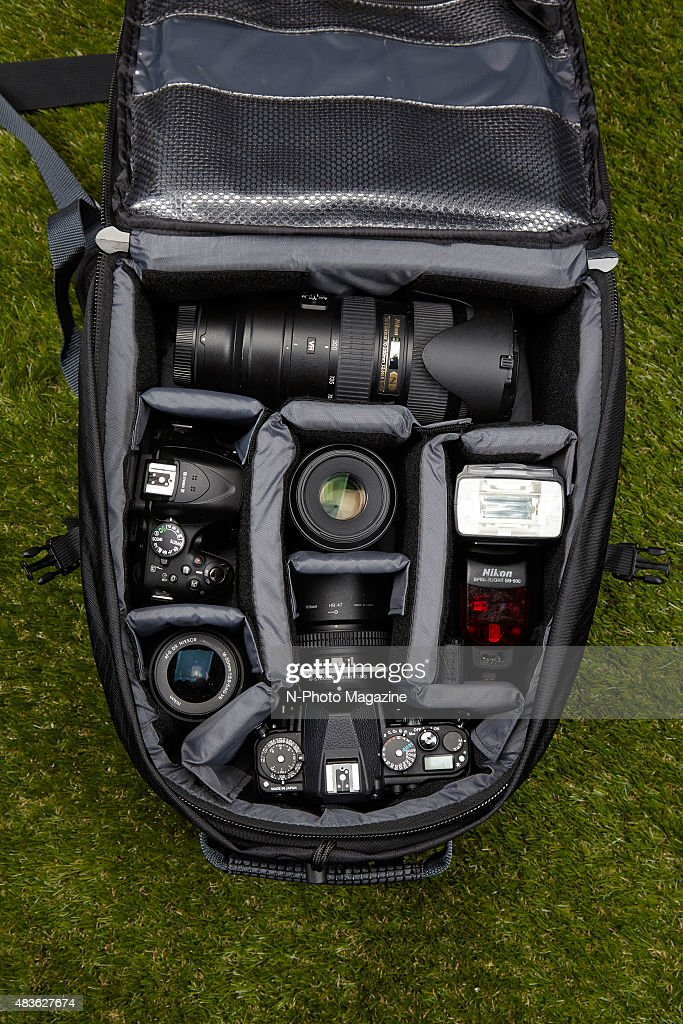 Interior Detail Of A Tamrac Expedition 5x Filled With Camera Equipment  Photographed For A Feature On