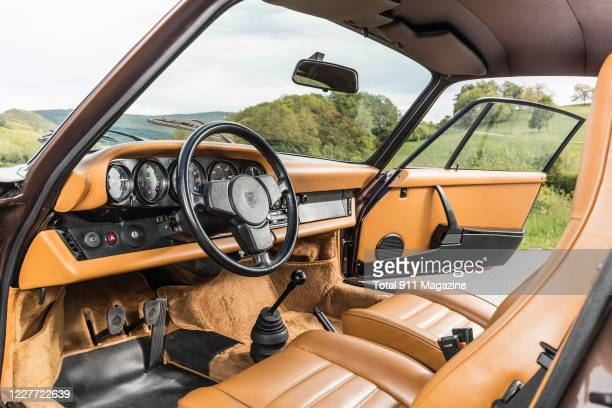 Interior detail of a vintage 1975 Porsche 930 Turbo sports car, on May 20, 2019.