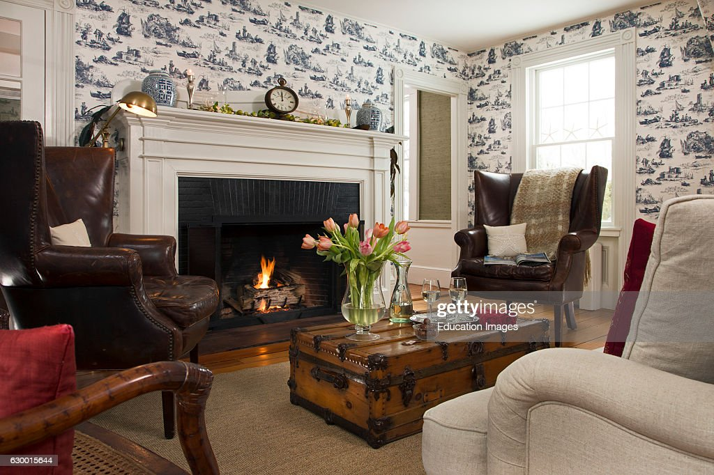 Interior Detail Of Cape Cod Living Room With Fireplace Chatham