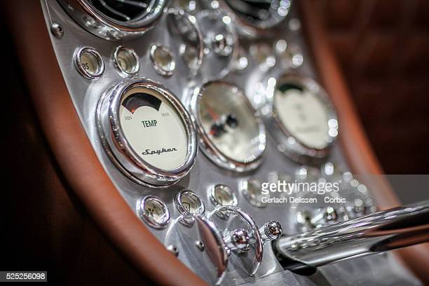 Interior detail of the Spyker C8 Preliator as on display at the 86th Geneva International Motorshow at Palexpo in Switzerland, March 2, 2016.