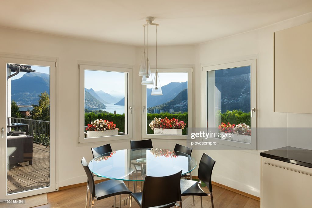 Interior Dining Room With Glass Table Stock Photo Getty Images