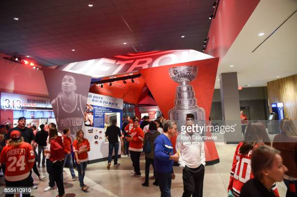 Interior displays highlighting the championship seasons for the Detroit Red Wings and Detroit Pistons in Little Caesars Arena during the Detroit Red...