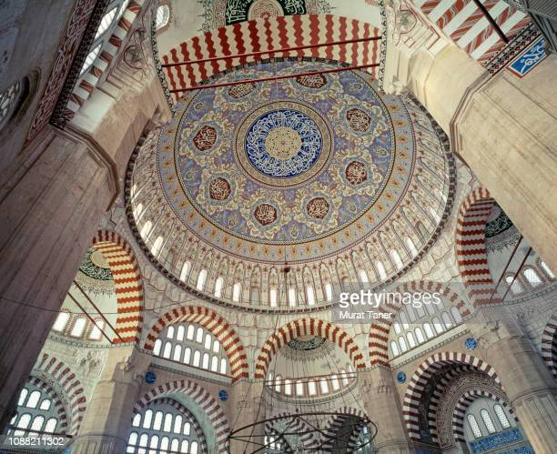 interior dome of the selimiye mosque in edirne - monument stock pictures, royalty-free photos & images