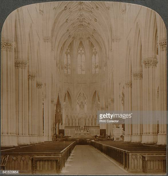 Interior finest Gothic structure in US St Patrick's Cathedral New York' c1900 [Underwood Underwood New York London TorontoCanada OttawaKansas c1900]...