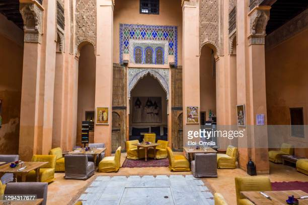 interior for riad or inner courtyard in medina of marrakesh, morocco - riyadh stock pictures, royalty-free photos & images