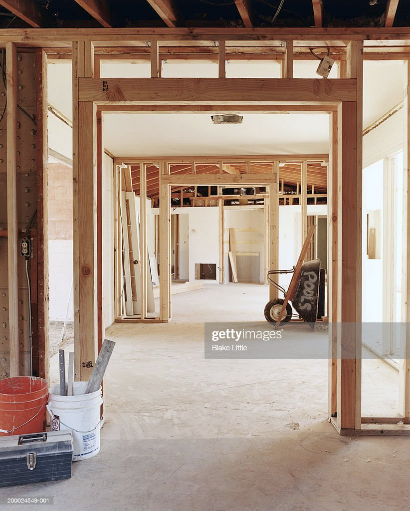 Interior Framework Of Unfinished House High-Res Stock Photo ...