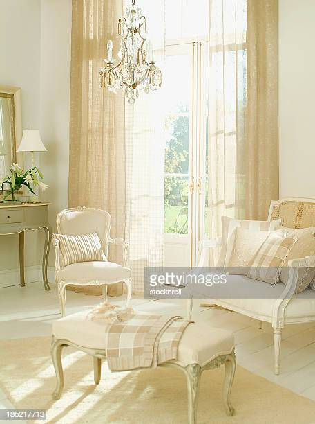 Interior French two seater sofa and chair in living room
