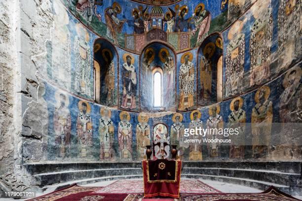 interior frescoes of akhtala monastery - アルメニア共和国 ストックフォトと画像