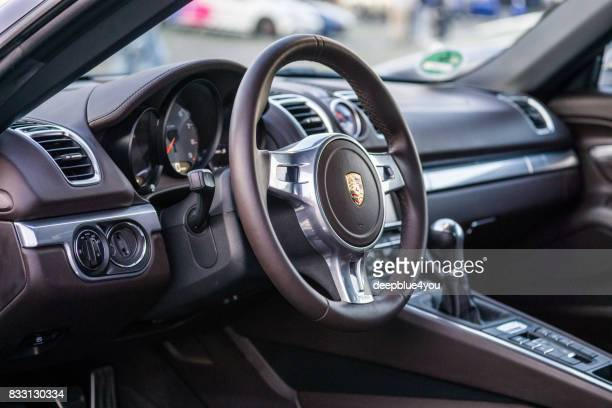 Interior from a Porsche Boxster Spyder open sports car during the event with Magnus Walker on the Fish Market Hamburg
