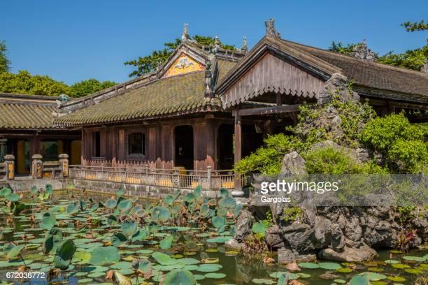 Interior Garden of water lilies in Hue, Vietnam