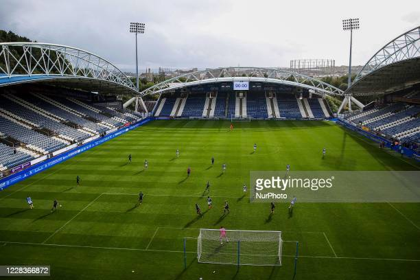 Interior General View of match action during the Carabao Cup 1st round match between Huddersfield Town and Rochdale at the John Smith's Stadium,...