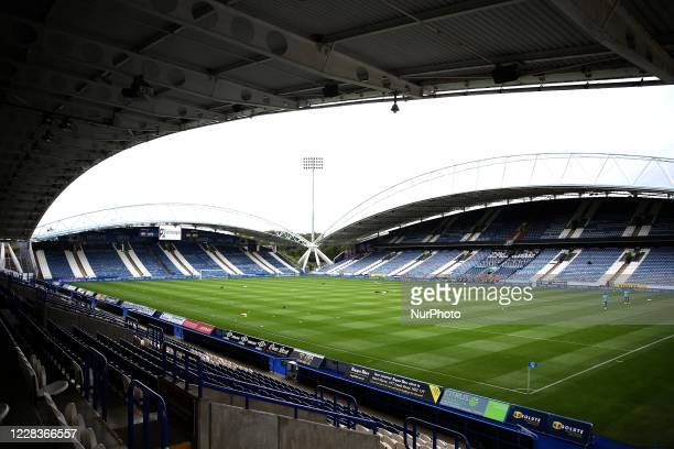 Interior General View of the John Smiths Stadium prior to the Carabao Cup 1st round match between Huddersfield Town and Rochdale at the John Smith's...