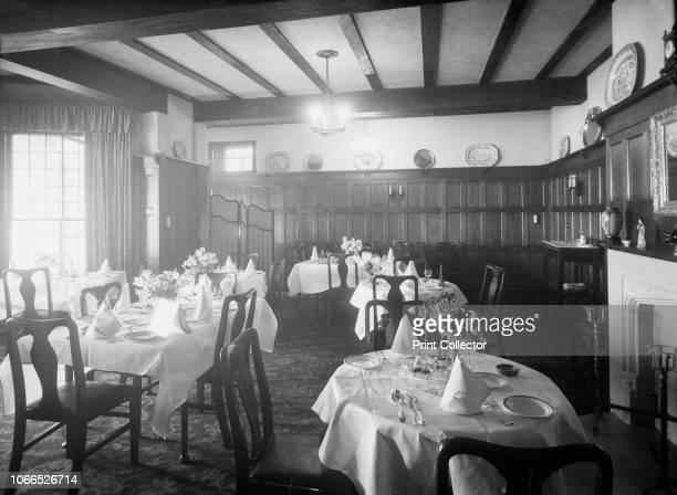 Interior Gloster Hotel Cowes Isle of Wight circa 1935 Panelled dining room with tables laid