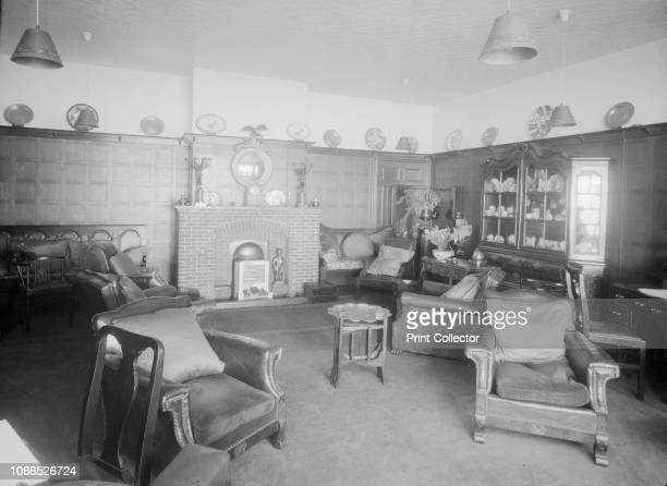 Interior Gloster Hotel Cowes Isle of Wight circa 1935 Panelled sitting room with leather armchairs