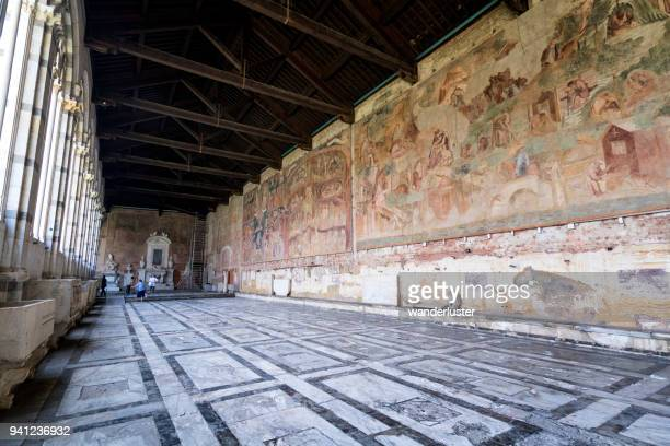 interior hall of campo santo cemetery in pisa - campo santo stefano stock pictures, royalty-free photos & images