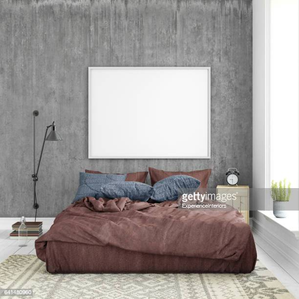 Interior hipster template wall background with picture frame