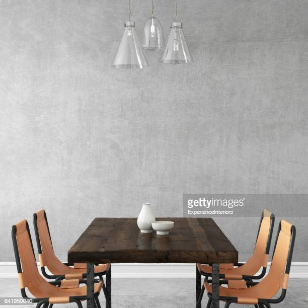 Interior hipster wall dining room