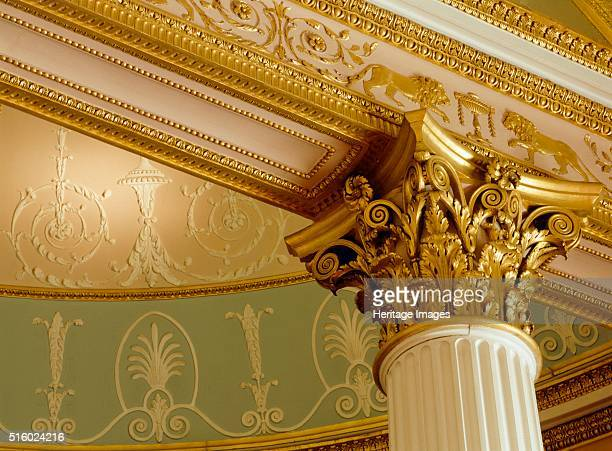 Interior, Kenwood House, Hampstead, London, c2000s. View of the capital of one of the Corinthian columns in the library. Kenwood House was remodelled...