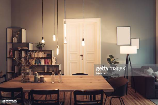interior living room - lamp stock photos and pictures