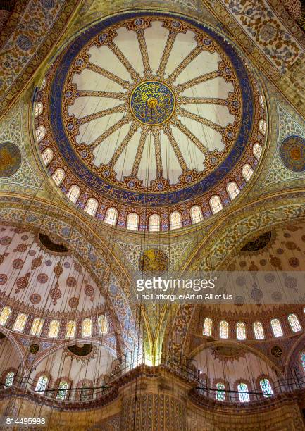 Interior low angle view of the sultan ahmed mosque or Blue mosque Sultanahmet Istanbul Turkey on April 27 2014 in Istanbul Turkey