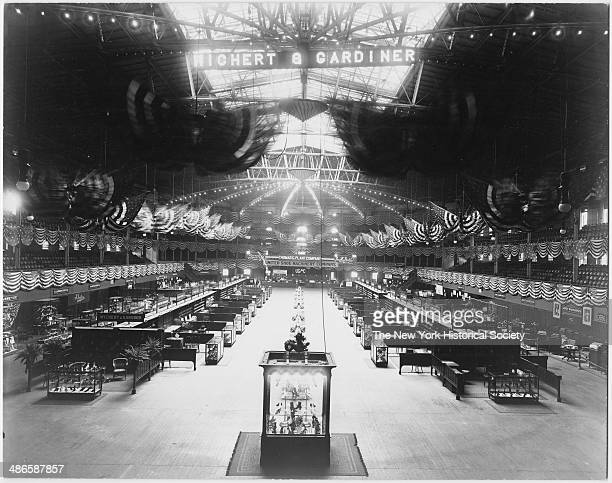 Interior Madison Square Garden with shoe manufacturers' convention installed in exhibition hall New York New York 1895