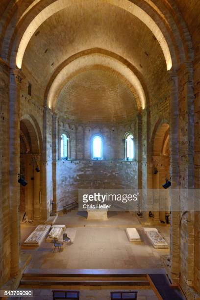 interior maguelone cathedral herault france - nave stock pictures, royalty-free photos & images