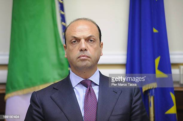 Interior Minister Angelino Alfano attends a meeting on safety after a recent spate of violence in Milan at Prefettura on May 21 2013 in Milan Italy...