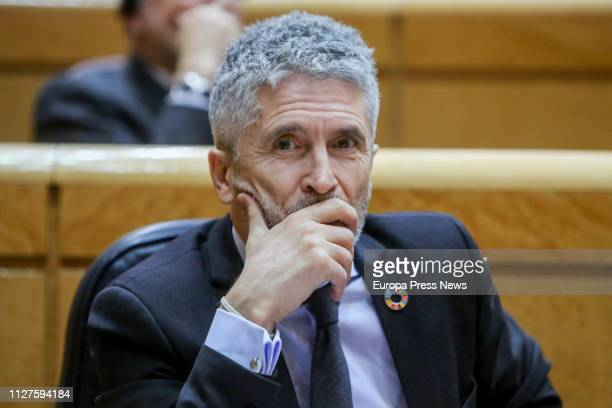 Interior minister Fernando GrandeMarlaska is seen at a plenary session in the Senate on unemployment state budgets and financial forecast on January...
