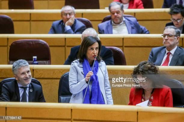 Interior minister Fernando GrandeMarlaska minister of Defense Margarita Robles and Finance Minister Maria Jesus Montero are seen at a plenary session...