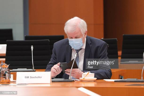 Interior Minister Horst Seehofer before the weekly government cabinet meeting on July 7, 2021 in Berlin, Germany.