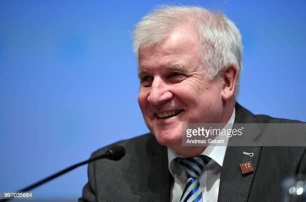 Interior Minister Horst Seehofer of Germany speaks at a press conference during the European Union member states' interior and justice ministers...