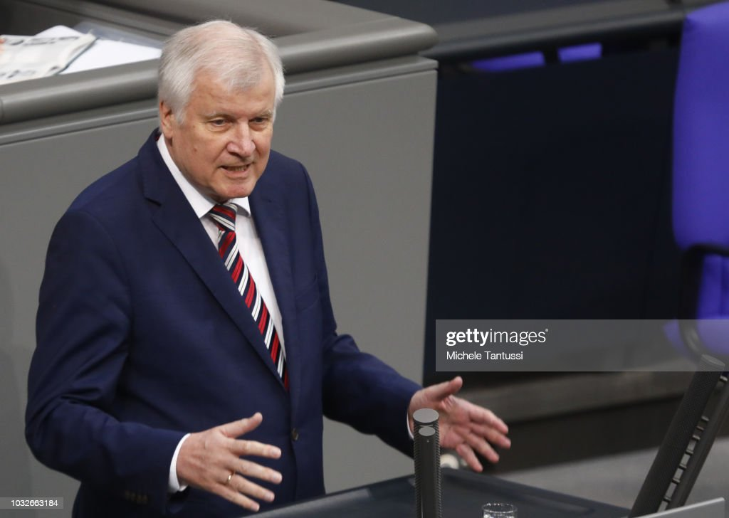 Interior Minister, Horst Seehofer (CSU) reports on inland security politics during a session of the German Parliament or Bundestag on September 13, 2018 in Berlin, Germany. Relations within the governing German coalition have once again become strained, this time due to comments made by German Interior Minister and Bavarian Christian Social Union leader Horst Seehofer following the recent murder of a German by refugees and the ensuing marches by right-wing supporters in the city of Chemnitz.