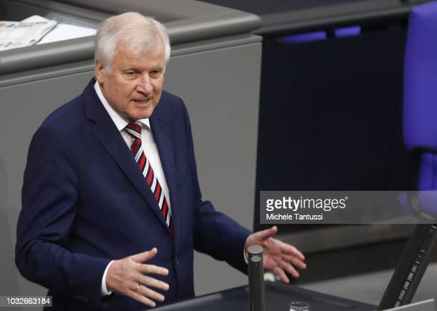 Interior Minister Horst Seehofer reports on inland security politics during a session of the German Parliament or Bundestag on September 13 2018 in...