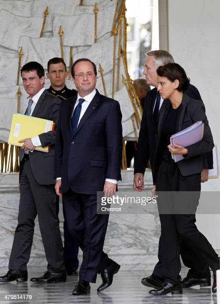 Interior Minister Manuel Valls French President Francois Hollande Prime Minister JeanMarc Ayrault and Minister for Women's Rights and Government...