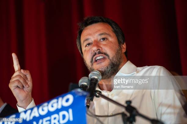 Interior Minister Matteo Salvini during the election rally on May 06 2019 in Avellino Italy The Minister of the Interior and leader of the Lega Party...