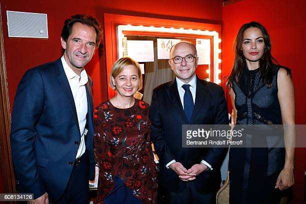 Interior Minister of France Bernard Cazeneuve and his wife Veronique standing between actors of the play Stephane De Groodt and Berenice Bejo attend...