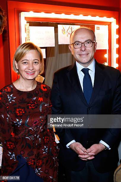 Interior Minister of France Bernard Cazeneuve and his wife Veronique attend the 'Tout ce que vous voulez' Theater Play at Theatre Edouard VII on...