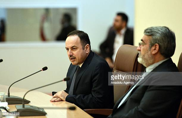 Interior Minister of Iran Abdolreza Rahmani Fazli and Afghanistan's Minister of Finance Eklil Ahmad Hakimi hold a press conference following their...
