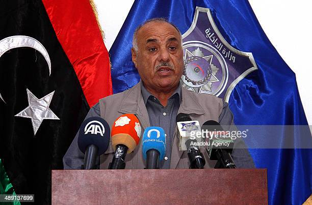 Interior Minister of Libya Salih Mazik holds a press conference in Tripoli Libya on 10 May 2014