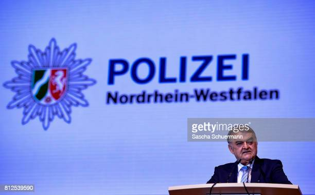 Interior Minister of NorthRhine Westphalia Herbert Reul gives a speech during newly graduated police cadets in the state of North RhineWestphalia at...