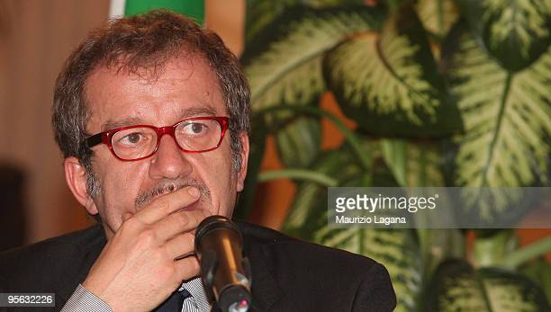 Interior Minister Roberto Maroni attends a news conference after a summit focusing on mafia activity January 07 2009 in Reggio Calabria Italy...